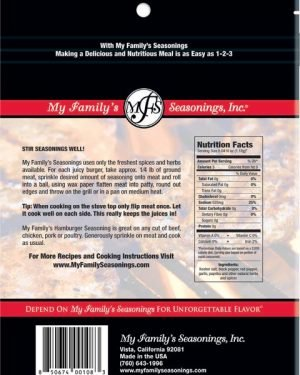 3.6 oz My Family's Hamburger Seasoning